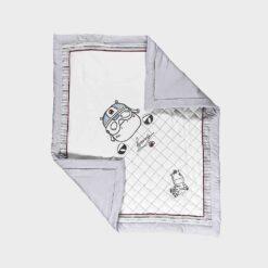 γκρι λευκή κουβέρτα αγκαλιάς βαμβακερή με επένδυση σχέδιο οδηγός ράλι