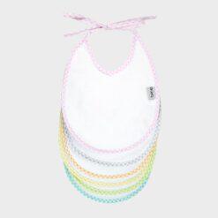 σετ 6 σαλιάρες για κοριτσάκι λευκές βαμβακερές φροτέ με χρωματιστά καρό ρέλια