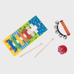 μουσικό σετ παιδικό ξύλινο με μεταλλόφωνο, καστανιέτα και ντέφι