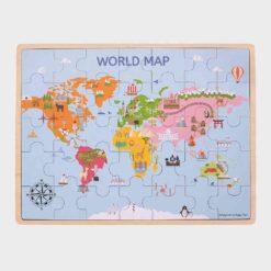ξύλινο παζλ με τον παγκόσμιο χάρτη