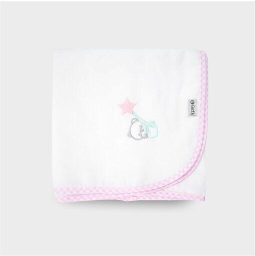 πάνα τετράγωνη φανελένια ή χασεδένια λευκή με ροζ ρελι και κέντημα