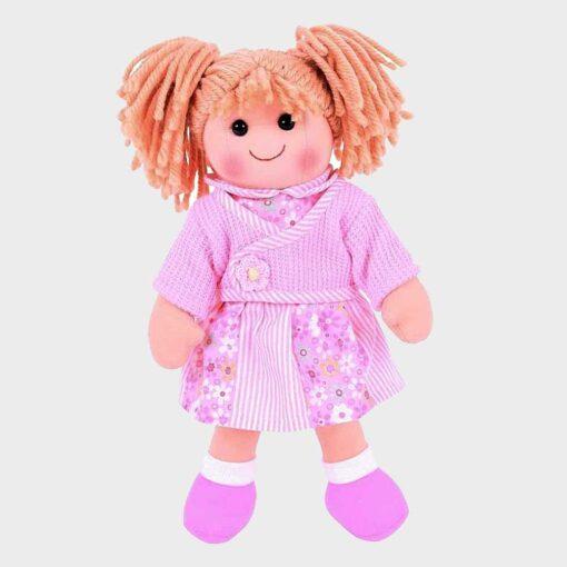 πάνινη κούκλα 34 εκατοστά με ροζ ροχαλάκια