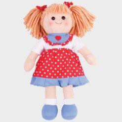 πάνινη κούκλα 34 εκατοστά με κόκκινο τζην φόρεμα
