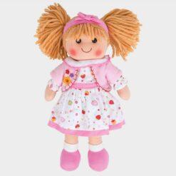 πάνινη κούκλα με ροζ λευκό φόρεμα και ζακετάκι