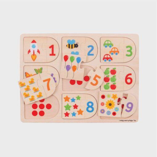ξύλινο δισκάκι σφηνώμτα με αριθμούς και ζωγραφιές
