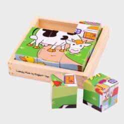 ξύλινοι κύβοι παζλ με παραστάσεις για να φτιάξουμε τα ζωάκια της φάρμαςια τη