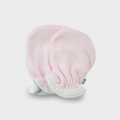 βαμβακερά γαντάκια για το νεογέννητο σε ροζ χρώμα με λαστιχάκι