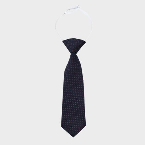 παιδική γραβάτα μπλε σκούρο με κόκκινο πουά