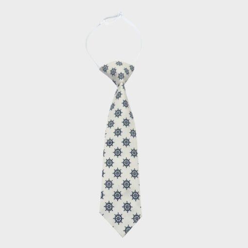 γραβάτα παιδική εκρού με σχέδιο μπλε τιμονιέρες
