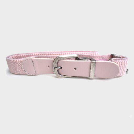 παιδική ζώνη ελαστική με δερμάτινο τελέιωμα ρυθμιζόμενη ροζ