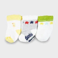 σετ 3 καλτσάκια για νεογέννητο πετσετέ λευκό-γκρι-κίτρινο
