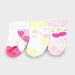 σετ 3 πετσετέ καλτσάκια για νεογέννητο ροζ λευκό κίτρινο