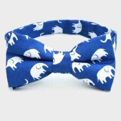 παπιγιόν βαμβακερό μπλε με λευκά ελεφαντάκια