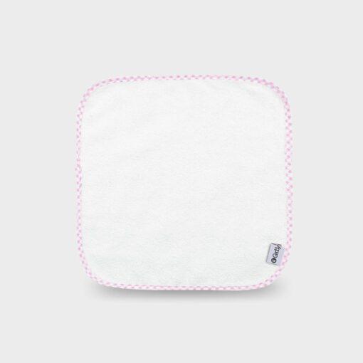 πανάκι πετσετέ ή φροτέ 28Χ28 εκατοστά λευκό με ροζ καρώ ρέλι
