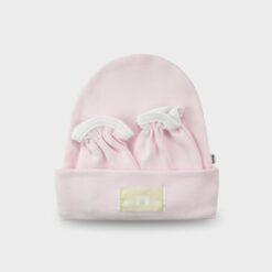 σετ νεογέννητου σκουφ΄σκι και γαντάκαι χουφτίτσες ροζ