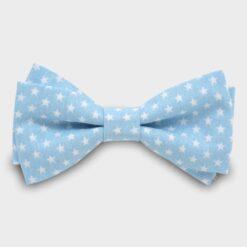 παιδικό βαμβακερό παπιγιόν γαλάζιο με μικρά αστεράκια λευκά