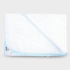 μπουρνουζάκι νεογέννητου τετράφωνο με τρίγωνο για το κεφαλάκι βαμβακερή πετσέτα λευκό με γαλάζιο καρό ρέλι