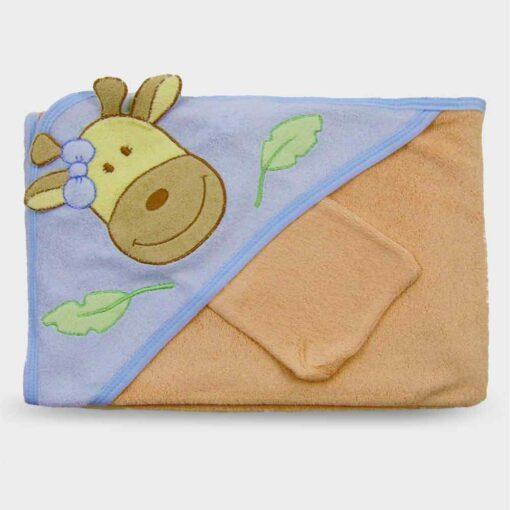 πετσέτα για μωρό πορτοκαλί με τρίγωνο για το κεφαλάκι με καμηλοπάρδαλη και γαντάκι για το τρίψιμο