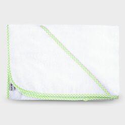 μπουρνουζάκι νεογέννητου τετράγωνο με τρίγωνο για το κεφαλάκι βαμβακερή πετσέτα λευκό με λαχανί καρό ρέλι