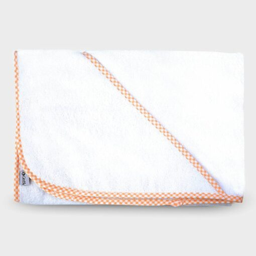 μπουρνουζάκι νεογέννητου τετράγωνο με τρίγωνο για το κεφαλάκι βαμβακερή πετσέτα λευκό με πορτοκαλί καρό ρέλι