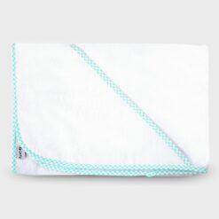 μπουρνουζάκι νεογέννητου τετράγωνο με τρίγωνο γοα το κεφαλάκι βαμβακερή πετσέτα λευκό με τυρκουάζ καρό ρέλι