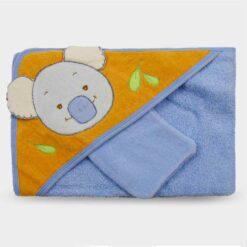 πετσέτα με τρίγωνη θήκη για το κεφαλάκι του μωρού σε σιέλ πορτοκα΄λί χρωματισμούς με σχέδιο κοάλα