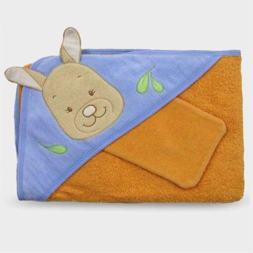 πετσέτα για νεογέννητο πορτοκαλί σιέλ με τρίγωνο για το κεφαλάκι, ασορτί γαντάκι για το τρίψιμο και σχέδιο καγκουρό