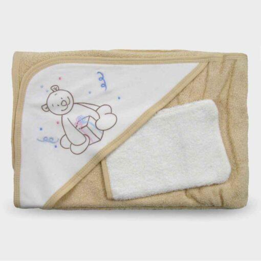 πετσέτα για νεογέννητο με τρίγωνο για το κεφαλάκι μπεζ με σχέδιο αρκουδάκι
