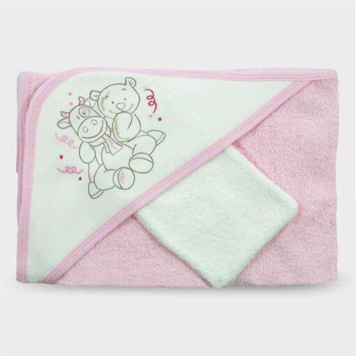 πετσέτα μπουρνούζι για νεογέννητο ροζ με τρίγωνο για το κεφαλάκι και ζωάκια