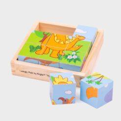 ξύλινοι κύβοι παζλ με εικόνες από δινόσαυρους