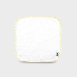 πανάκι για γουλιές από μαλακό φροτέ ή πετσετέ ύφασμα λευκό τετράγωνο 28Χ28 εκατοστά με καρό ρέλι κίτρινο