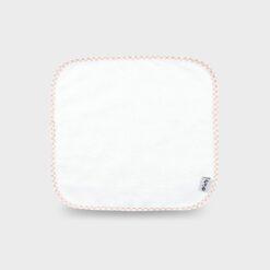 πανακι για τις γουλίτσες λευκό τετράγωνο από φροτέ ή πετσετέ ύφασμα 28Χ28 εκατοστά με καρό ρέλι μπεζ