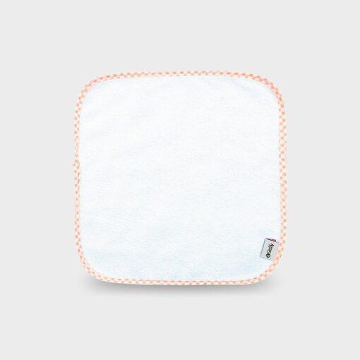 πανάκι σε δύο τύπους από φροτέ βαμβακερό ή πετσετέ ύφασμα τετράγωνο λευκό με καρό πορτοκαλί ρέλι για τις γουλίτσες του μωρού 28Χ28 εκατοστά