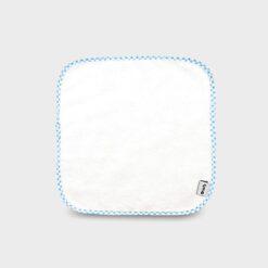 πανάκι για γουλιές από μαλακό βαμβακερό φροτέ ή πετσετέ ύφασμα σε λευκό χρώμα με καρό σιέλ ρέλι τετράγωνο 28Χ28 εκατοστά