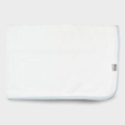 πάνα αγκαλιάς τετράγωνη για το τύλιγμα του μωρού λευκή με σιέλ ρέλι από απαλό βαμβακερό ύφασμα ζακάρ καλαμπόκι