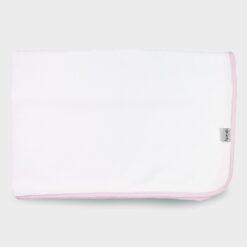 πάνα αγκαλιάς τετράγωνη για το τύλιγμα του μωρού από λευκό βαμβακερό ύφασμα καλαμπόκι με ροζ ρέλι