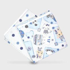 πάνες αγκαλιάς δύο τεμάχια για το τύλιγμα του μωρού από λεπτό χασεδένιο ύφασμα σαν σεντονάκι σταμπωτές γαλάζιες με καρδούλες, αρκουδάκια και πουά 90Χ90 εκατοστά