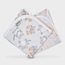πάνα αγκαλιάς από χασεδένιο ύφασμα γκρι γκούρο με κεντημένα λευκά αστεράκια