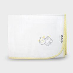 αδιάβροχο σελτεδάκι αλλαξιέρα λευκό με ρέλι καρώ και κέντημα κίτρινο