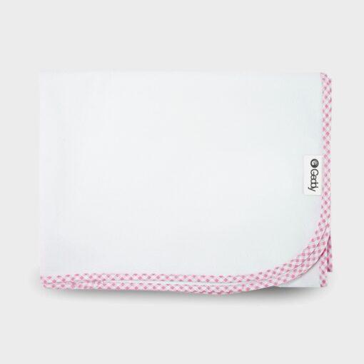 αδιάβροχο σελτεδάκι αλλαξιέρα λευκό με ρέλι καρώ ροζ