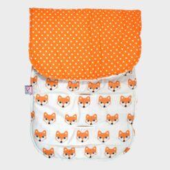 κάλυμμα για το καρότσι βαμβακερό δύο όψεων πουά πορτοκαλί από τη μία και αλεπούδες από την άλλη