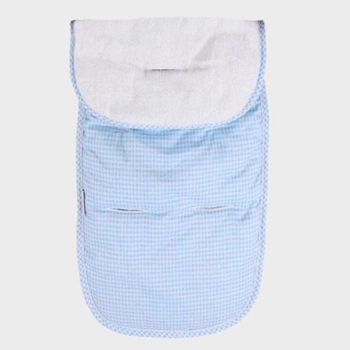 κάλυμμα για το βρεφικό καρότσι βαμβακερό πτι καρώ σιέλ από τη μία πλευρά και λευκό πετσετέ από την άλλη