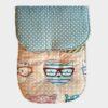 κάλυμμα για το καρότσι βαμβακερό δύο όψεων πουά μέντα από τη μία και γατούλες με γυαλιά από την άλλη
