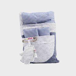 καλύμμα καροτσιού βαμβακερό δύο όψεβν μπλε΄καρώ και λευκό πουά με επωμίδες για τι ζώνες σε πάνινη συσκευασία
