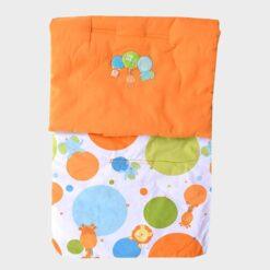 κάλυμμα για το καρότσι πορτοκαλί από τη μία πλευρά και λαυκό με μεγάλα πολύχρωμα πουά