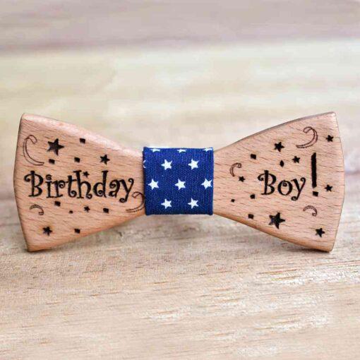 Παιδικό Ξύλινο Παπιγιόν Birthday Boy
