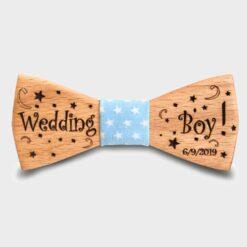 Παιδικό Ξύλινο Παπιγιόν Wedding Boy με Ημερομηνία