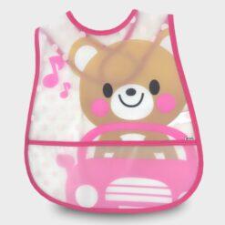 πλαστική σαλιάρα για το φαγητό με σχέδιο ροζ αρκουδάκι