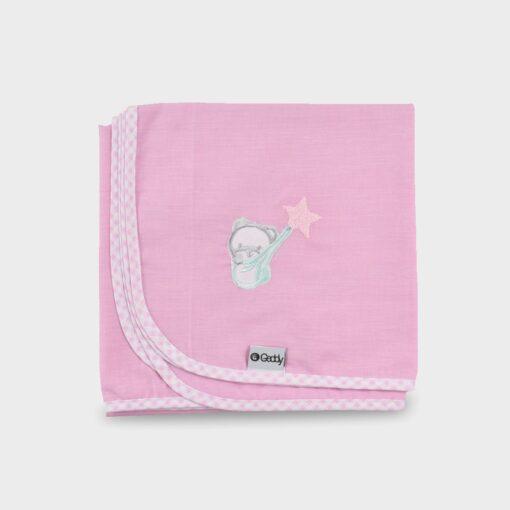 πάνα χασέ ροζ με καρώ ρέλι και κέντημα αρκουδάκι που κρατάει ένα αστεράκι