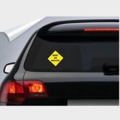 αυτοκόλλητο για το πίσω τζάμι του αυτοκινήτου κίτρινο baby on board